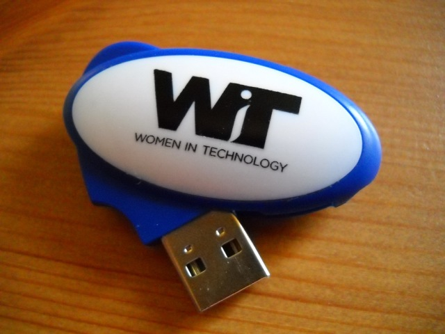 Flash drive with Women in Technology logo