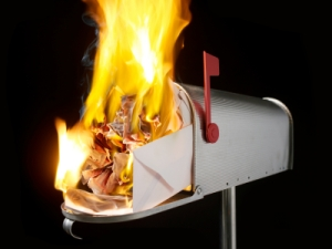 image of mailbox on fire